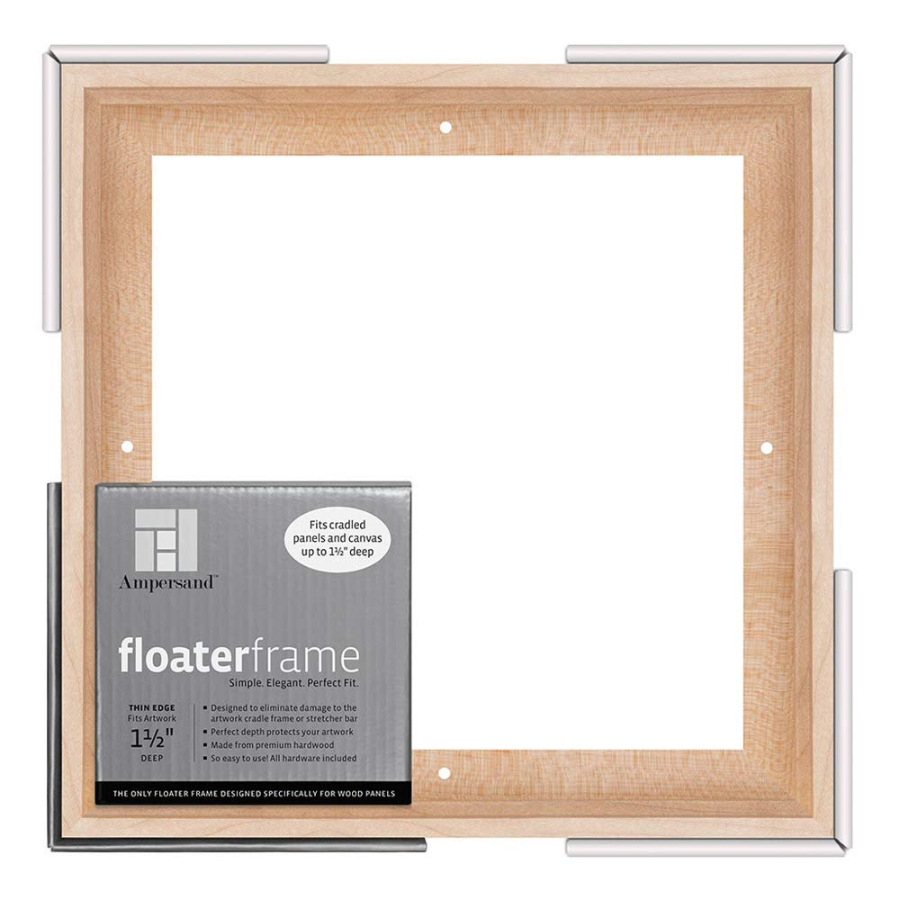 Ampersand Floaterframe for Wood Panels, 1.5 Inch Depth, Thin, 10x10 Inch, Maple (FTHIN151010M)