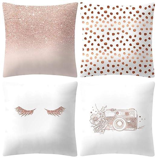 VJGOAL Moda impresión decoración del hogar Rosa Suave Funda de cojín Cuadrado cómodo Funda de Almohada 4 Piezas Conjunto(45_x_45_cm,Rosado3)