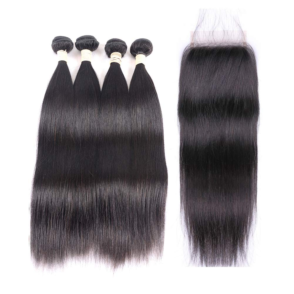 Brazilian Virgin Straight Hair Bundles with Closure 20 22 22 24 +18 4x4 Free Part With Baby Hair 100% Unprocessed Brazilian Straight Human Hair Bundles with Lace Closure Natural Black by Memory Hair