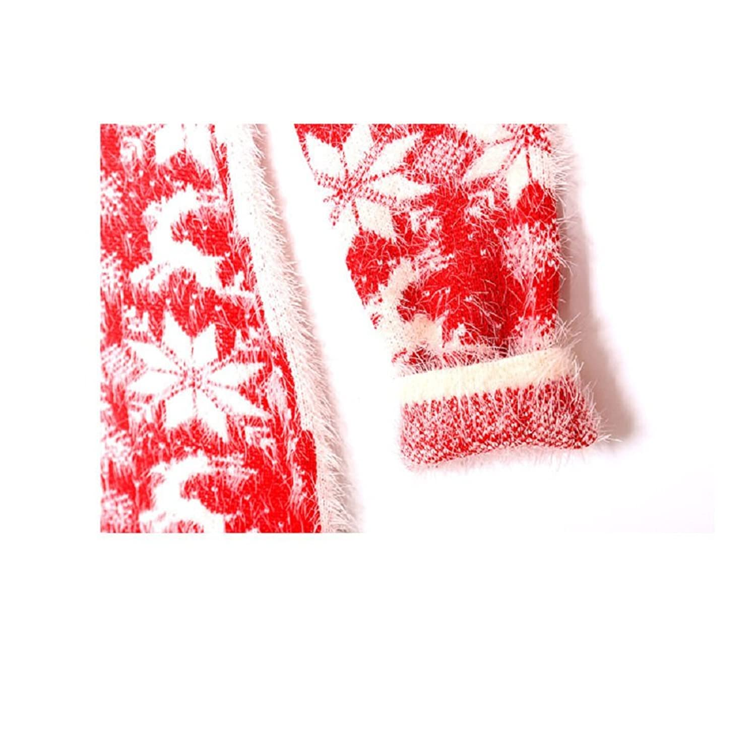 Hanxue Women's Warm Mohair Christmas Snowflake Loose Knit Sweaters Pullovers