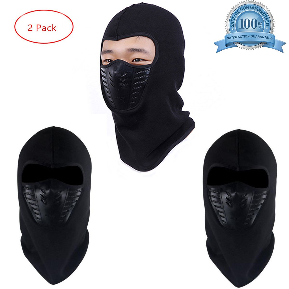 Balaclava Full Face Mask Winter Face Cover Hat Helmet with Breathable Mesh Silicone Panel Fleece Warm Anti-dust Windproof for Skiing Snowboarding Cycling for Women and Men Black (2 Pack) Hmjunboys