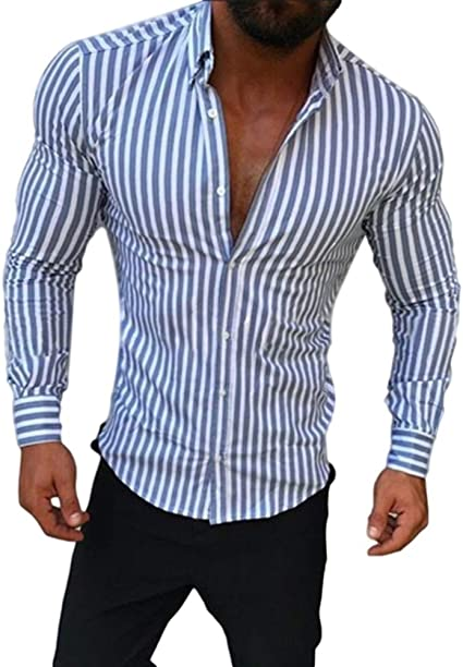 Sxgyubt - Camisa de manga larga para hombre, diseño de rayas, estilo casual, para jóvenes transparente gris extra-Large: Amazon.es: Instrumentos musicales