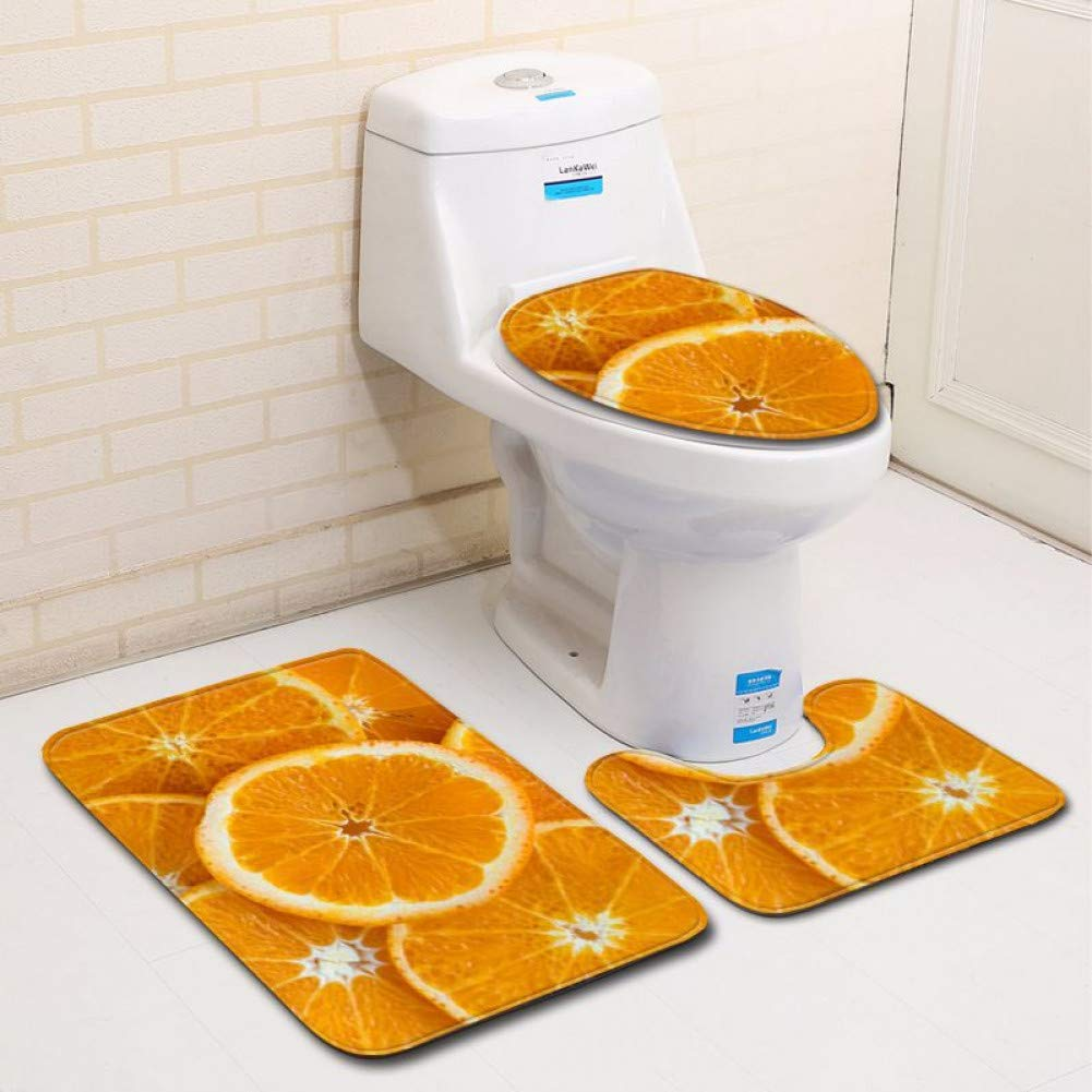ZHENGXIANGA 3D Simple Bathroom Toilet Three-Piece Floor Mat Door Mat Bathroom Carpet Mat by ZHENGXIANGA