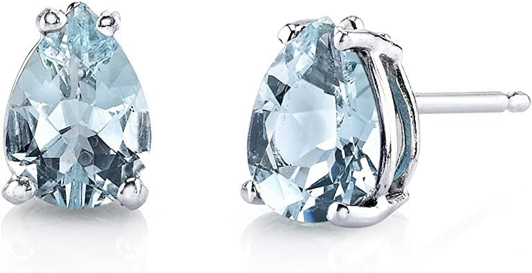 2 cttw Heart Shape Aquamarine March Birthstone Stud Earrings in 14k White Gold Over Sterling Silver