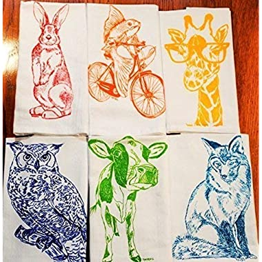 Cloth Napkins Set of 6 Animal Cotton Kitchen Table Linens