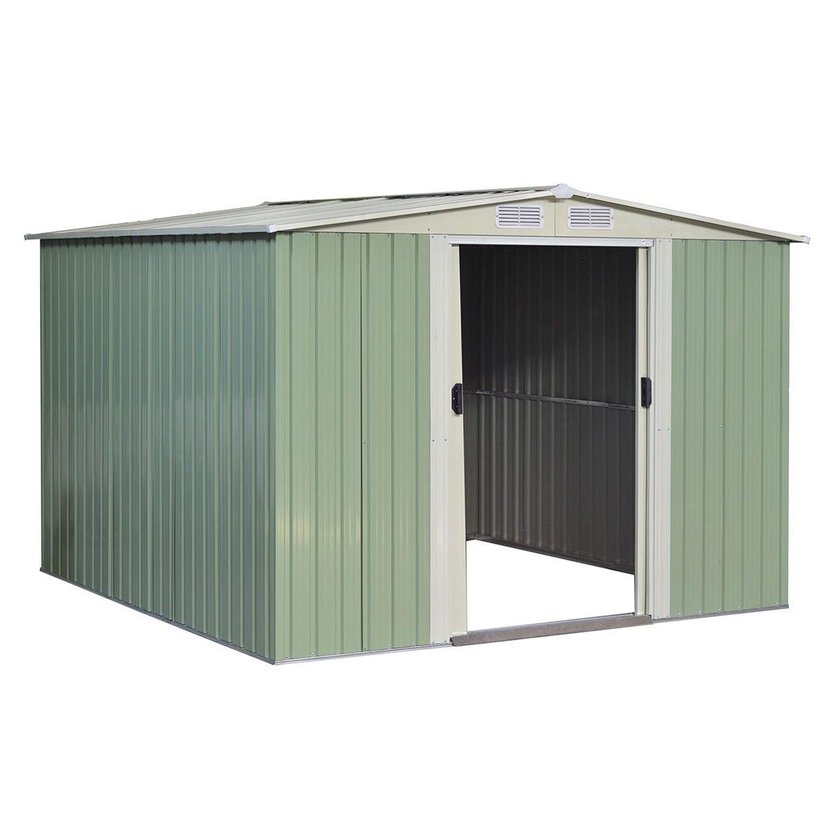Goplus Galvanized Steel Outdoor Garden Storage Shed 8.5x 8.5Ft Heavy Duty Tool House W/ Sliding Door (Light Green)