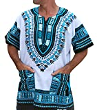 RaanPahMuang Brand Unisex Bright African White Dashiki Cotton Shirt #4 Light Blue XX-Large