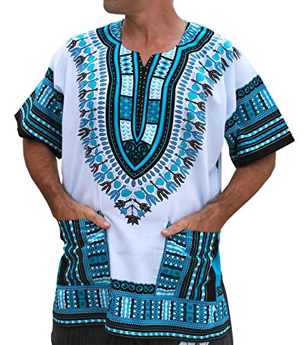 RaanPahMuang Brand Unisex Bright African White Dashiki Cotton Shirt #4 Light Blue XX-Large by RaanPahMuang