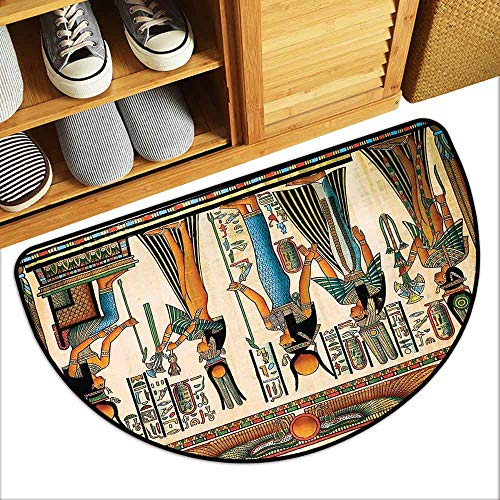 YOFUHOME Egyptian Outdoor Door mat Egyptian Papyrus Depicting Queen Nefertari Making an Offering to Isis Image Print Breathability W35 x L23 Multicolor