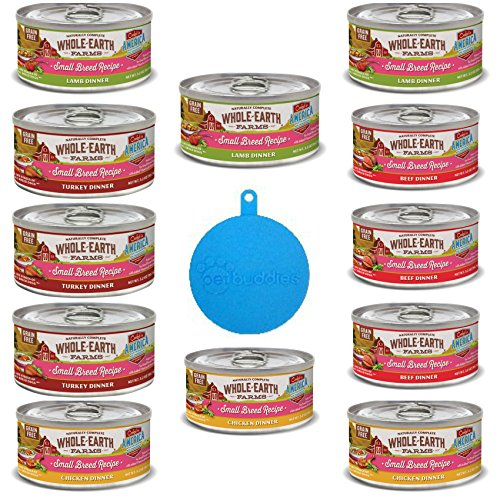 Farms Grain Free Small Breed Recipe for Dogs in 4 Flavors - Chicken, Beef, Lamb, Turkey Stew (12 Cans Total, 3.2 Oz Ea) Plus 1 Cat/Dog Food Silicone Can Cover - 13 Items Total ()