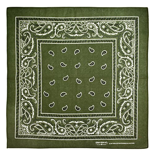 Bandana, 12 Pack 100% Cotton Bandanas for Women Men with Paisley, Flags & More (Army Green)