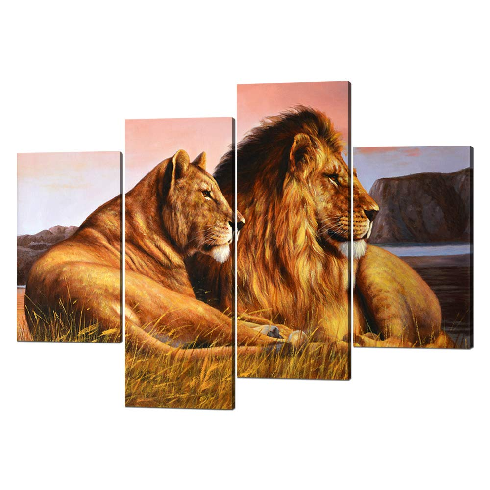 Yatsen Bridge 4 Panels Large Lion Painting for Home and Office Decor Modern Wild Lion and Lioness Canvas Giclee Artwork Animal Posters Stretched by Wooden Frame Ready to Hang - 56''W x 42''H