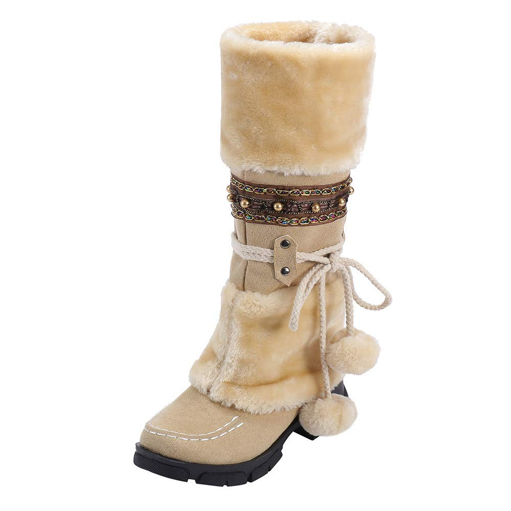 TIFENNY Women Suede Hairball Round Toe Square Heel Shoes Winter Plush Keep Warm Slip-On Snow Boots Long Boots