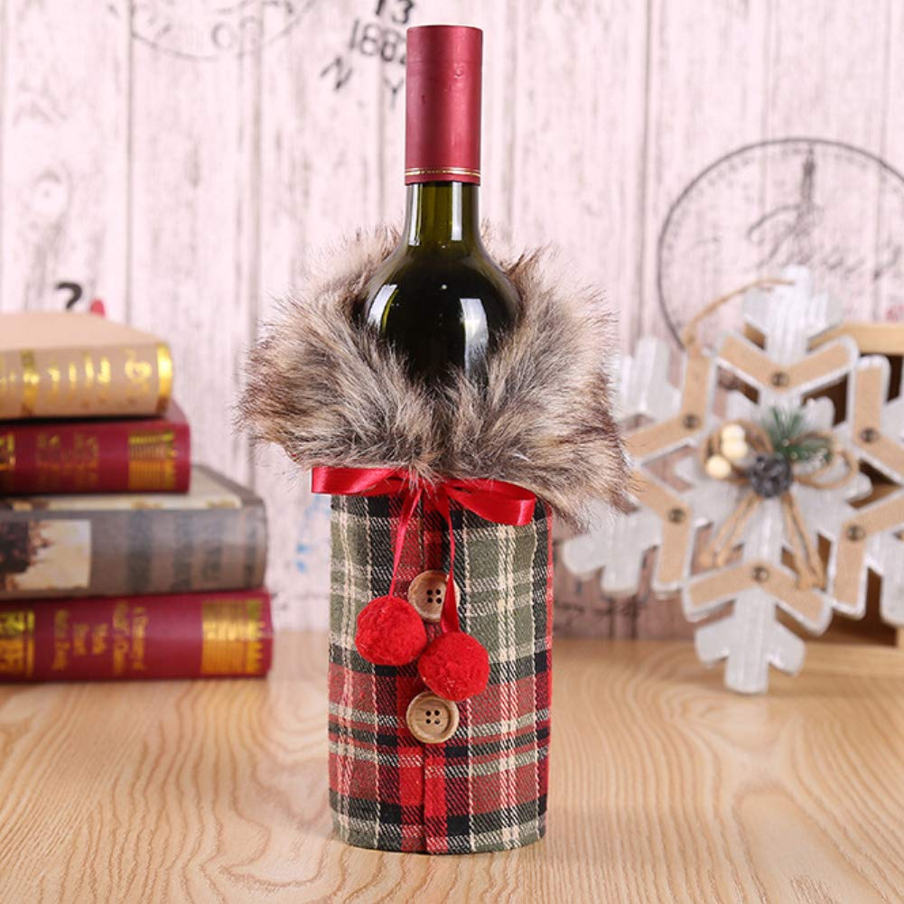 Kuizhiren1 Christmas Wine Bottle Cover Coat,Lovely Christmas Plush Plaid Bow Wine Bottle Cover Coat Fashion Home Dinner Table Party Decor Accessories Red