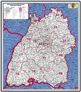 Bundesländer Karte Mit Plz.Xxl Bundesländerkarte Baden Württemberg Mit Postleitzahlen Papier Gerollt Laminiert Beschreib Abwaschbar Postleitzahlenkarte Plz Karte