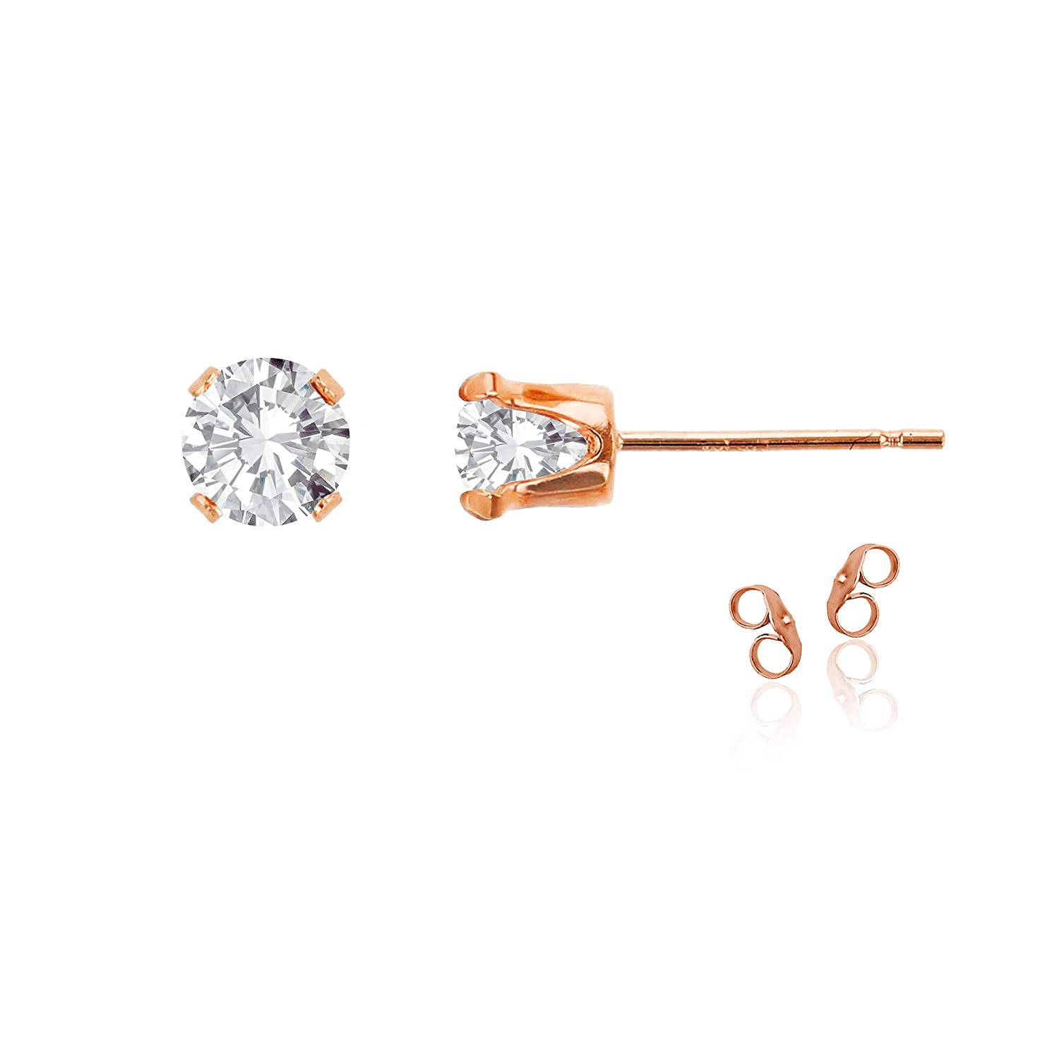 14K Gold Plated 925 Sterling Silver Yellow Rose Gold 7mm Round Genuine Or Created Gemstone Birthstone Stud Earrings