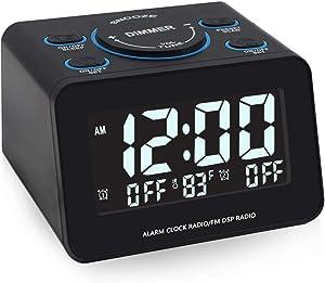 Horologe Digital Alarm Clock Radio with Dual Alarm, FM Radio, Preset, Dimmer, Temperature and Alarm Display, Sleep Timer and Snooze, Adjustable Volume clock for bedroom
