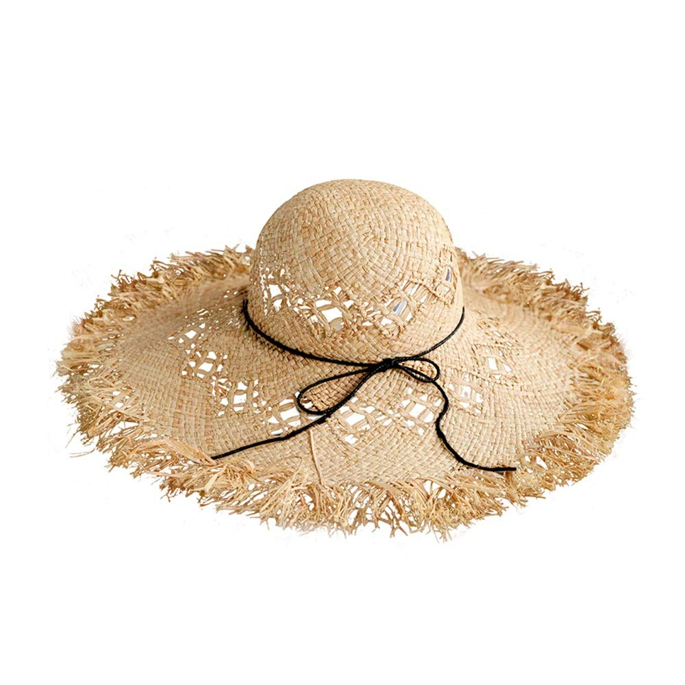 Jia Jia Sun hat  Fashion Grass Straw Big Brim of hat Lafite Sun hat Summer Wild Travel Leisure Sun hat Summer Outdoor Sun hat