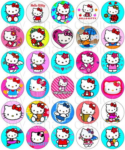 30 x Edible Cupcake Toppers - Hello Kitty Party Collection of Edible Cake Decorations | Uncut Edible Prints on Wafer Sheet]()