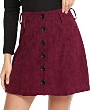 Houshelp Women's Corduroy Skirt Slim fit Windproof Button Mini Skirt Short Skirt Autumn and Winter Hip Skirt