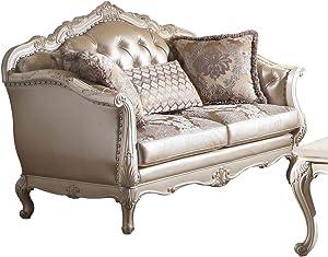ACME Chantelle Loveseat w/3 Pillows - - Rose Gold PU/Fabric & Pearl White