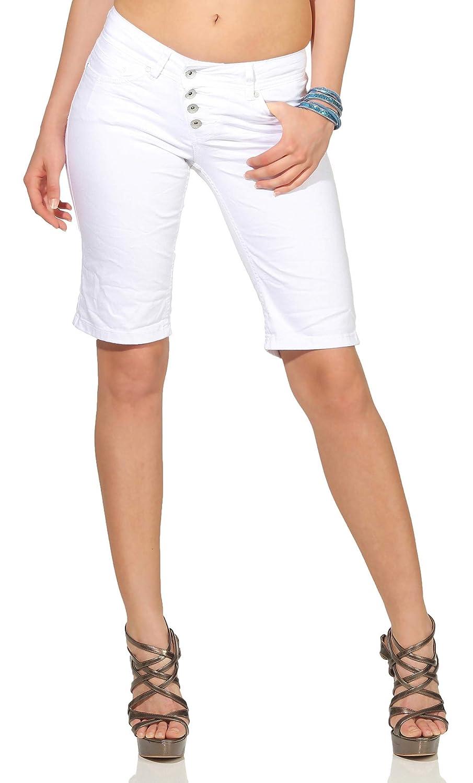Buena Vista Damen Jeans Malibu Short Stretch Twill Kurze Hose mit Knopfleiste