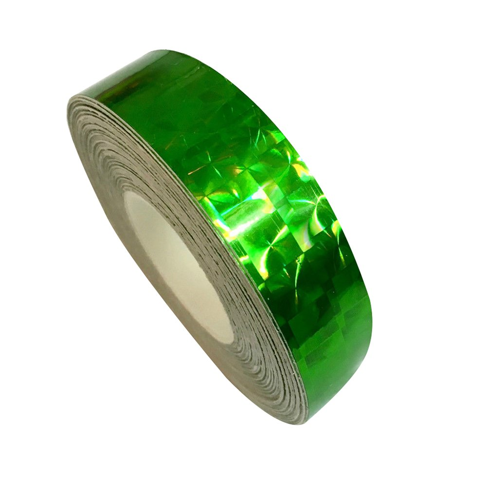 Braceus 1.2cm x 18m Square Glitter Sparkle Holographic Prism Lure Tape for Gift Packing (Green)