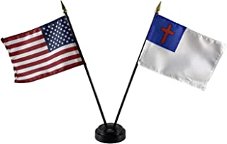 product image for Set of 3 4x6 E-Gloss Christian Stick Flag w/U.S. Stick Flag & 2 Flag Plastic Table Base - Made in The USA