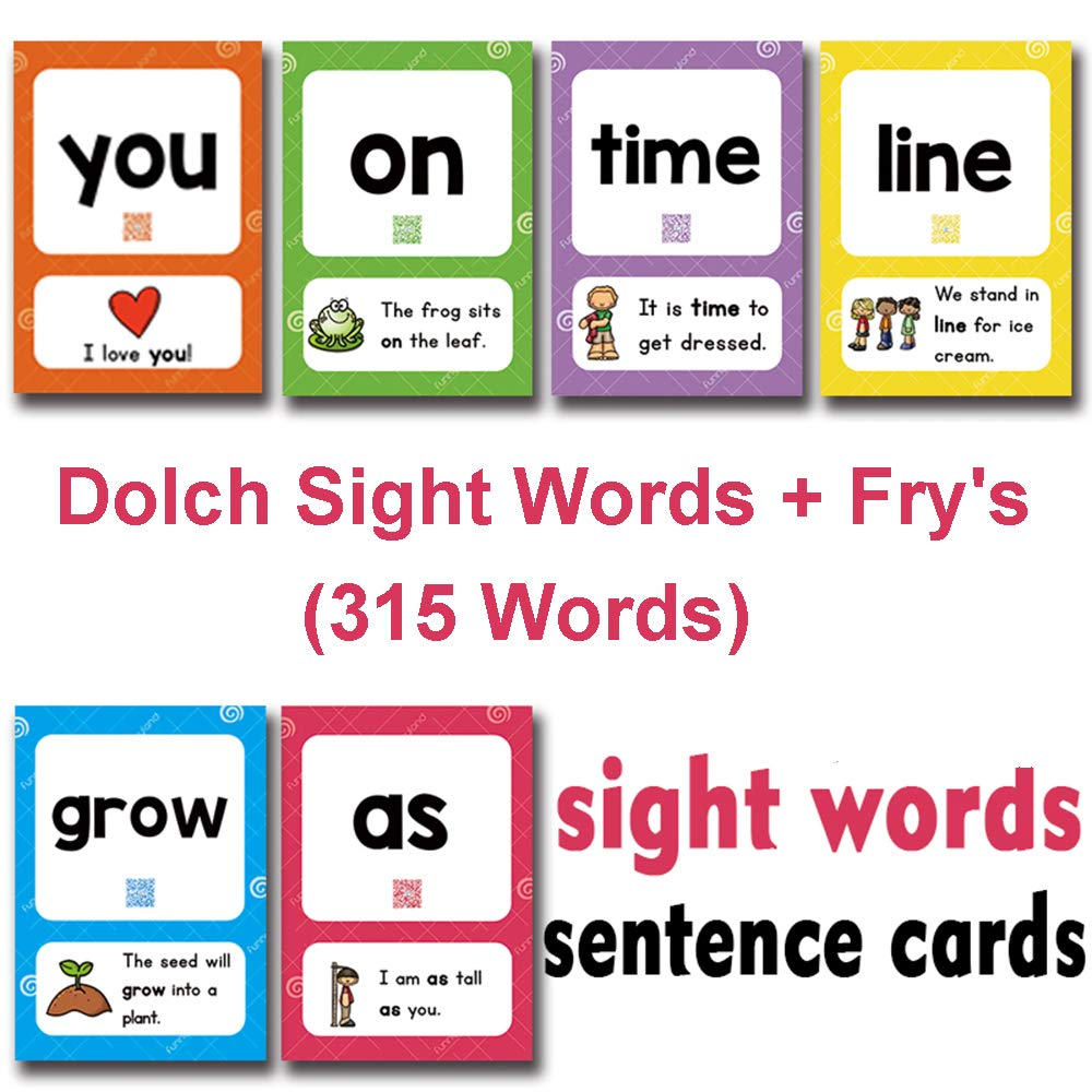 Richardy 289Pcs Sight Words Kids Flash Cards Kindergarten Cards Preschool Learning Toys Baby Card Learn English