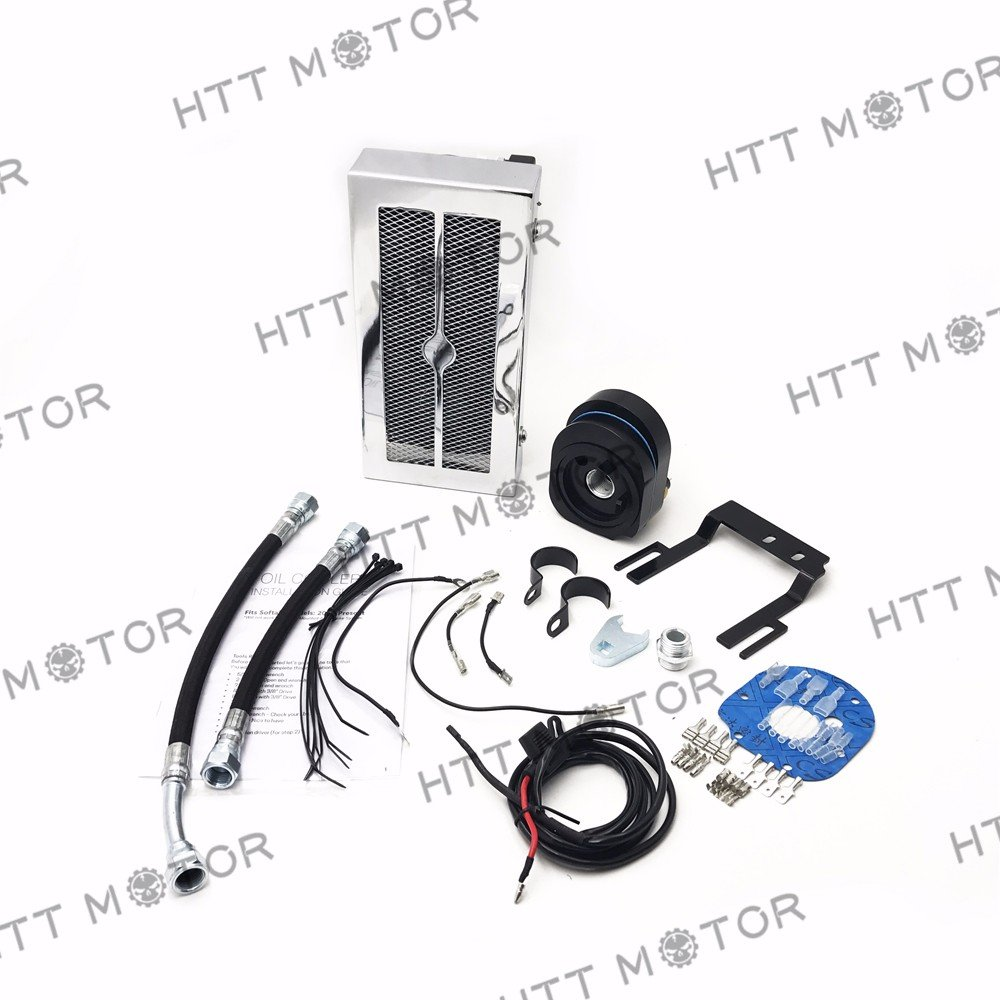 HTTMT OCS02 Chrome Reefer Oil Cooler Fan Cooling System Compatible with Harley Softail 2001-2017 2015