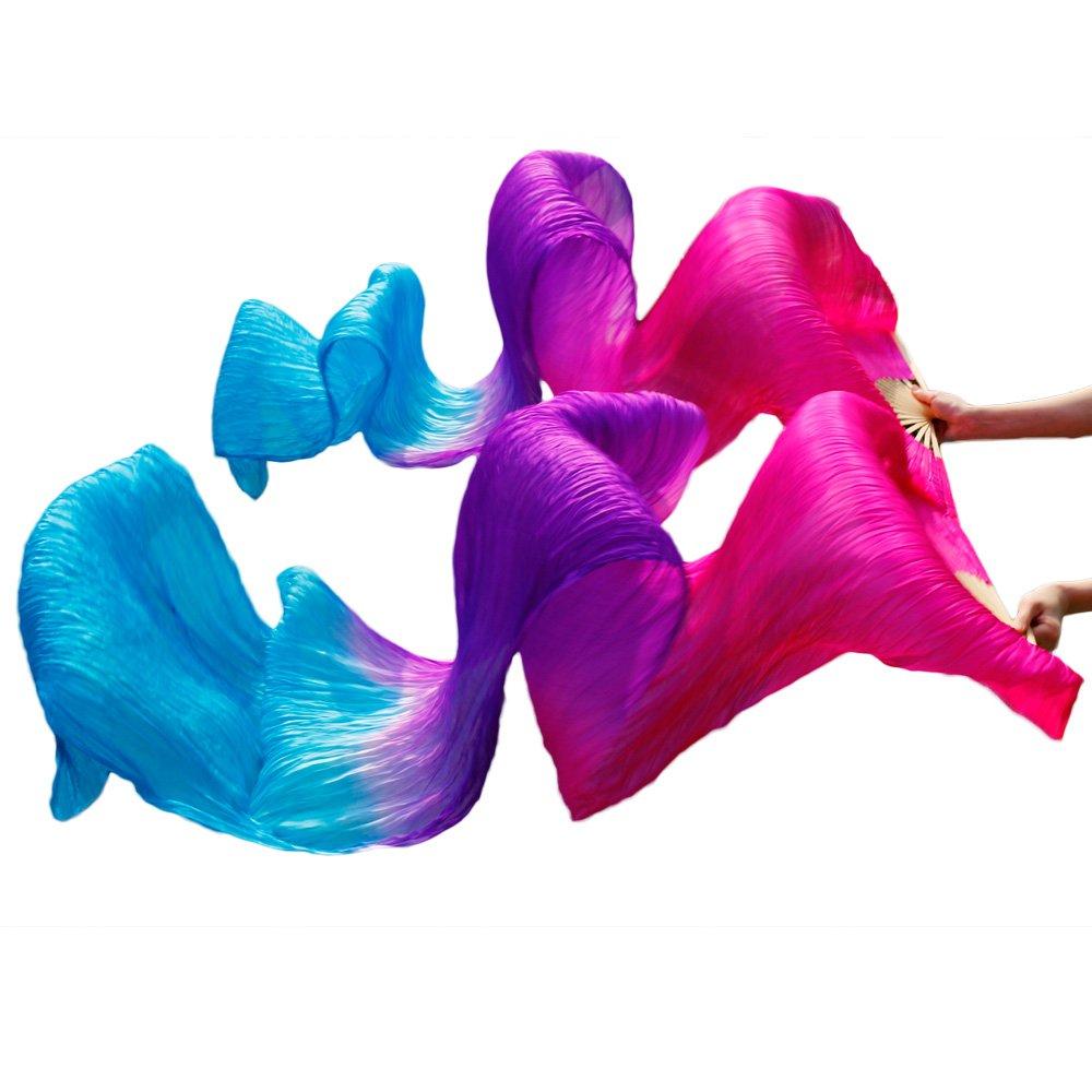 YI NA SHENG WU Rose + viola + colori turchesi Silk Veils Dance Fans 1 Coppia fan di danza del ventre Ventilatori di seta lunghi (180X90cm)