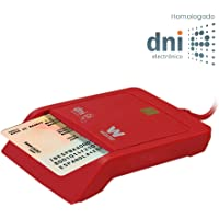 Woxter Lector DNI Electrónico Rojo - Lector de DNI Electrónico Inteligente, DNI 3.0, Plug & Play, Compatible con PC y…