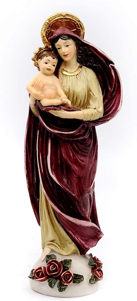 """Comfy Hour 8"""" Religious Generous Virgin Mary and Child Baby Statue, The Blessed Mother of The Immaculate Comception Home Madonna Figurine"""