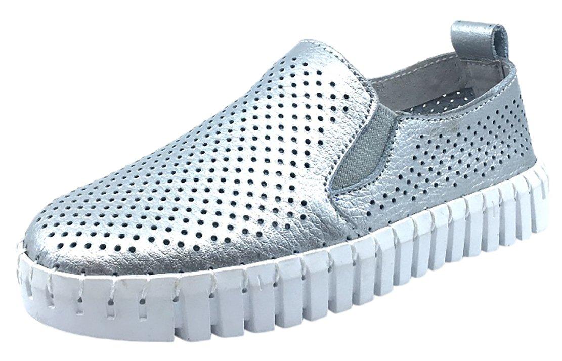 My Brooklyn Kid's Coney Island Silver Metallic Leather Flexible Lightweight Slip On Creeper Sneaker 13 M US Little Kid