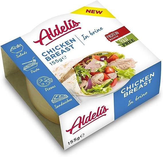 Aldelís Lata de Pechuga de Pollo al Natural Healthy Canned Chicken Breast in Brine Ready to Eat ideal for Salad and Sandwich. 26% Protein, 99% Fat ...
