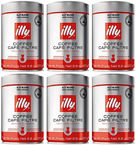 illy Caffe Normale Drip Grind (Medium Roast, Blue Band) Coffee Cans 8.8 oz