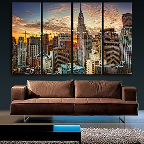 Amazon.com: Extra Large Framed Wall Art New York City Landscape ...
