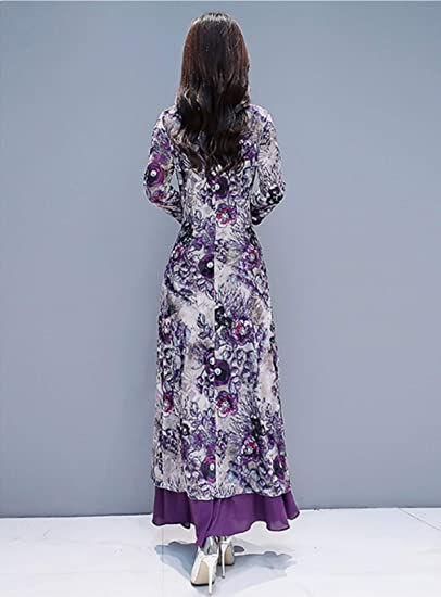 Chinese Style Qipao Women's Birthday Party Collar Floral Cheongsam Dress