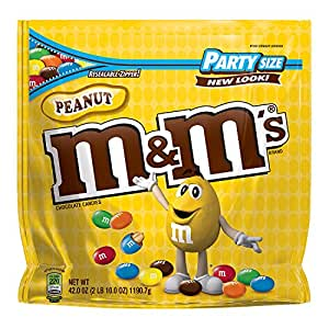M&M'S Peanut Chocolate Candy Party Size 42 Ounce (Pack of 1) Bag
