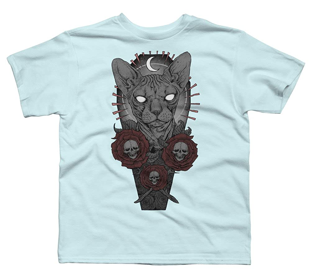 Design By Humans Coffin Cat Boys Youth Graphic T Shirt