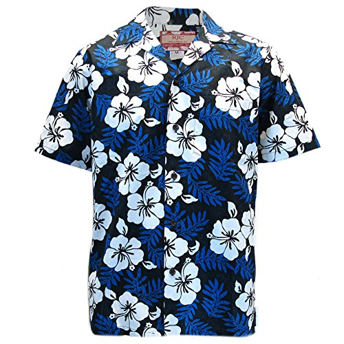 Mens-Clancey-Classic-Authentic-Blue-Hibiscus-Hawaiian-Shirt