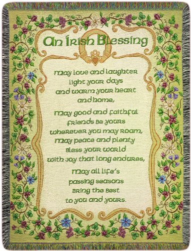 Manual Irish Collection 51 X 68-Inch Tapestry Throw, Peace and Plenty Irish Blessing