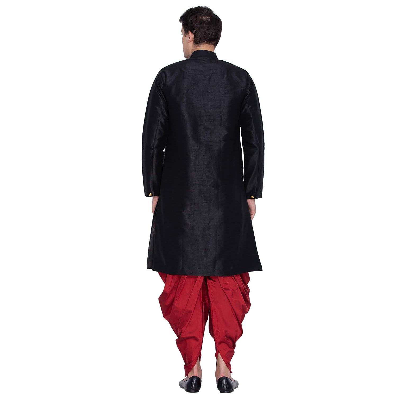 8fc54870cd VASTRAMAY Men Silk Sherwani Style Kurta Set Ethnicwear (VASMKBL006nCDMA  Colour: Black): Amazon.in: Clothing & Accessories