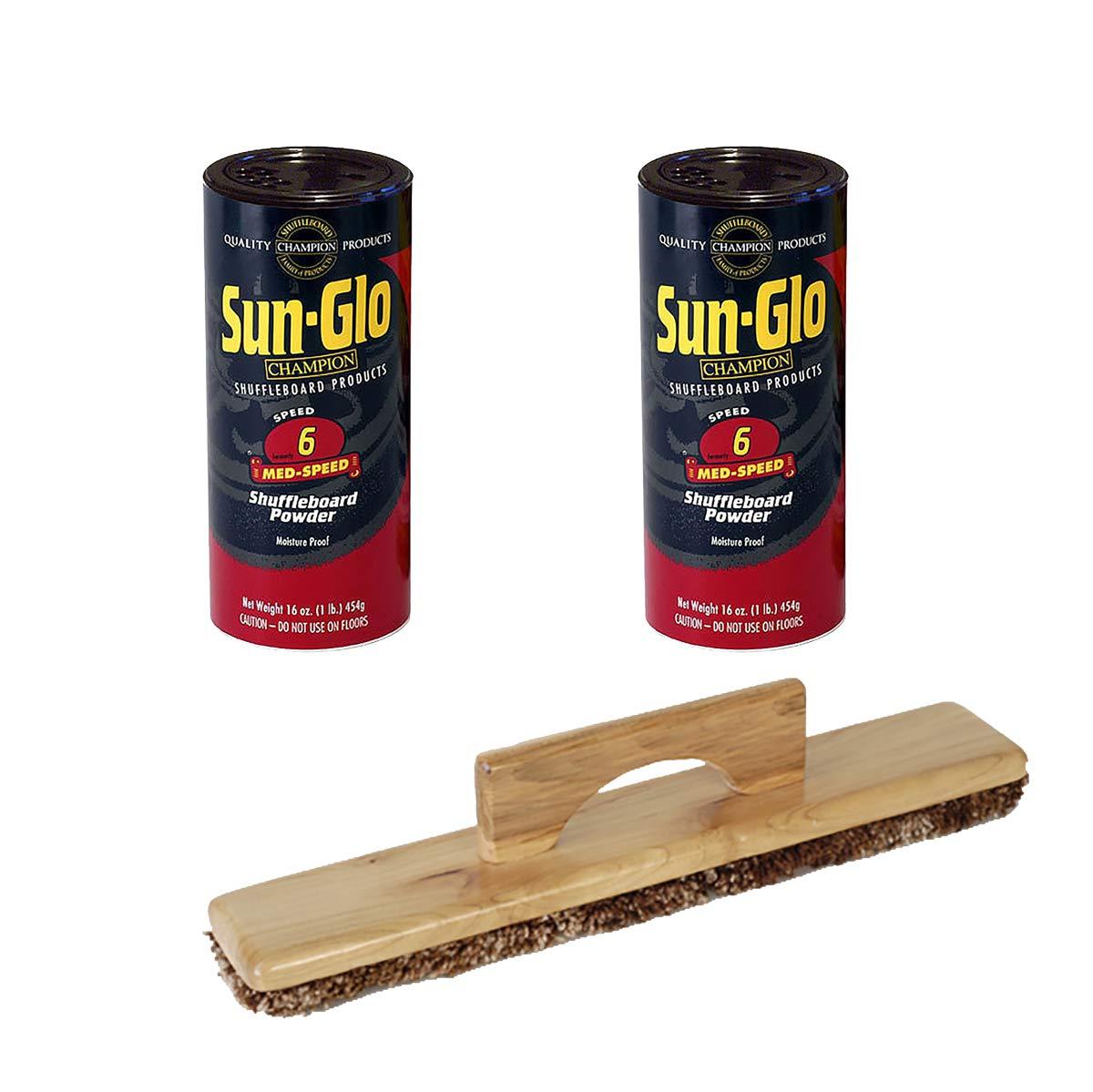 Twin Pack of Sun-Glo Speed #6 Medium Speed Shuffleboard Table Powder Wax (2 Pack) Bundled with a Sun-Glo Shuffleboard Sweep by Sun-Glo
