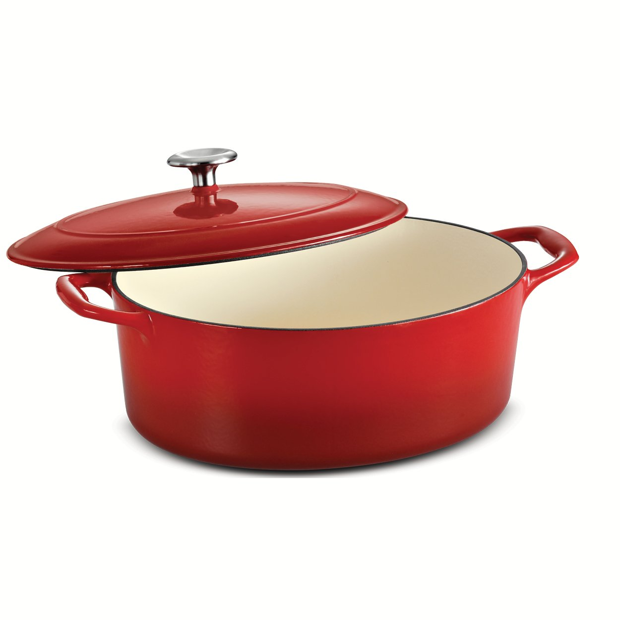 Tramontina 80131/051DS Enameled Cast Iron Covered Oval Dutch Oven, 5.5-Quart, Gradated Red
