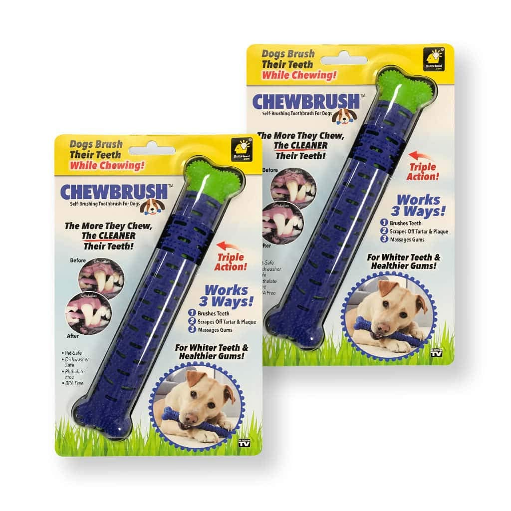 BulbHead Chewbrush Toothbrush Dog Toothbrush and Dog Toy - No Dog Toothpaste Required - Great Dog Teeth Cleaning Toys (2 Pack) by BulbHead