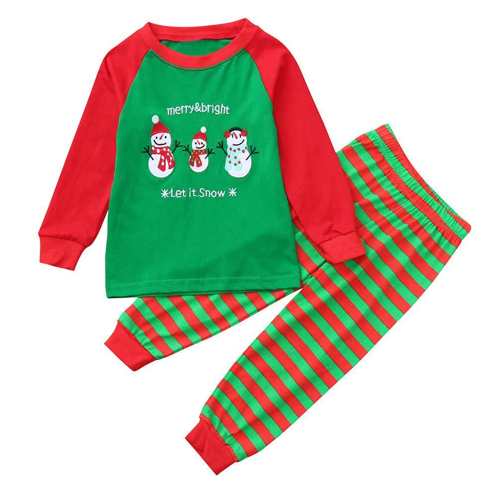 Sunnywill Baby MäDchen Jungen Bekleidung Schneemann Brief drucken Top + Stripe Hose Set Outfit