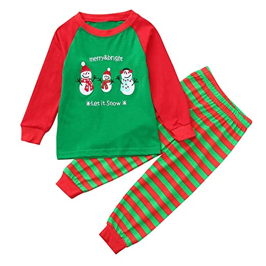 57ef676684e1a Little Boys Girls Christmas Pajamas Set Snowman Printed Long Sleeve Tops  Striped Pants Xmas Outfits Clothes