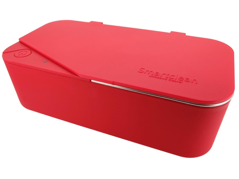 Smartclean 超音波洗浄機 家庭用 幅広メガネに対応 角型タイプ スマートなコンパクト設計 (レッド)