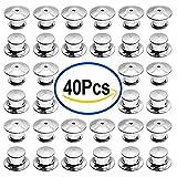 #3: Outee 40 Pieces Pins Locking Backs Pin Locks Metal Pin Backs Locking Clasp
